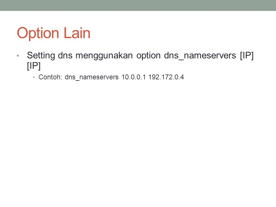Option Lain Setting dns menggunakan option dns_nameservers [IP] [IP]